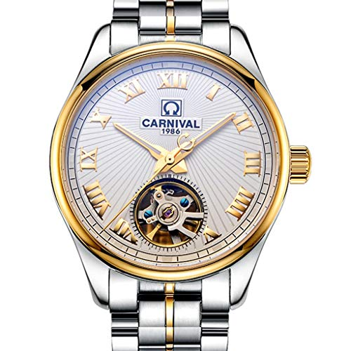 ZL Reloj para Hombre Reloj mecánico automático Tourbillon, Esfera Blanca, Esqueleto, Reloj...