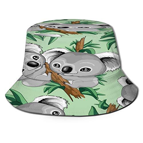 PUIO Sombrero de Pesca,Vector de repetición Koala Lindo bebé,Senderismo para Hombres y Mujeres al Aire Libre Sombrero de Cubo Sombrero para el Sol
