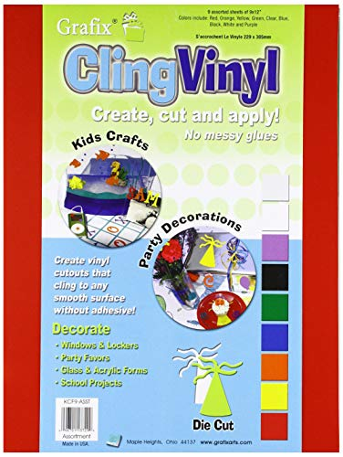 Cling Vinyl 9'X12' 9/Pkg-Assorted Colors