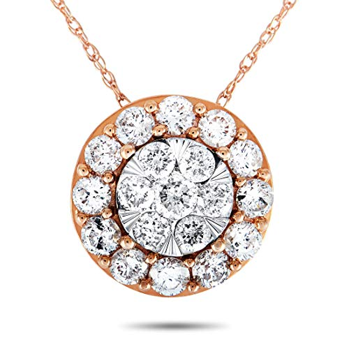 Photo of Luxury Bazaar 14K Rose and White Gold 1.00 Carat VS1 G Color Diamond Pave Round Pendant Necklace