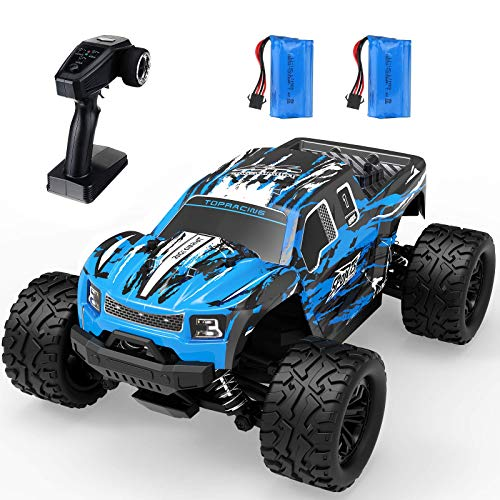 EACHINE Coche Teledirigido EC08, RC Coche Todoterreno, 1/16 Escala 4WD Control Remoto Coche Off-Road Monster Truck 40 Km/h 65 Minutoss Velocidad para Niños Adultos (2 Baterías)