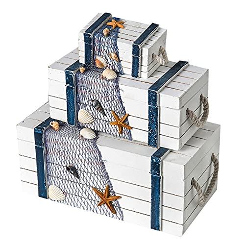 TROYSINC Caja de almacenamiento 3 en 1 de madera, decoración para el hogar, estrella de mar, concha, gaviota, decoración de red de pesca, decoración del hogar (blanco)
