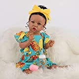 Vogvigo Reborn Baby Dolls with Bow Headband,22 Inch Realistic Baby Reborn Toddlers with Pineapple Pattern Suits ,Lifelike Realistic Silicone Vinyl Baby Dolls for Age 3 Set