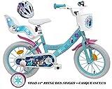 Bicicleta de 14 Pulgadas para niña con Licencia Frozen y Frozen con portamuñecas traseras + Casco Incluido.