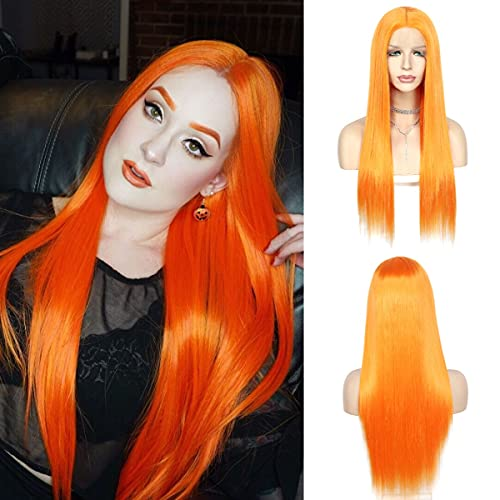 QD-Udreamy Orange Silky Straight Synthetic Lace Front Wigs for Black Women Heat Resistant Lace Front Wigs Hand Tied Wigs for Women T-Part Cosplay Wigs 24 Inch