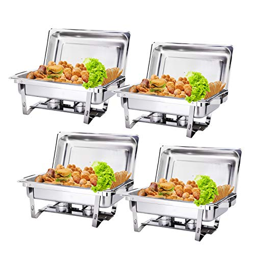 Display4top 9L Rechteck Chafing Dish Profi Set, Full Size Edelstahl Chafing Dish Set Buffet Silber Catering Wärmer Set, für Buffet Catering Kitchen Party, 4 Pack
