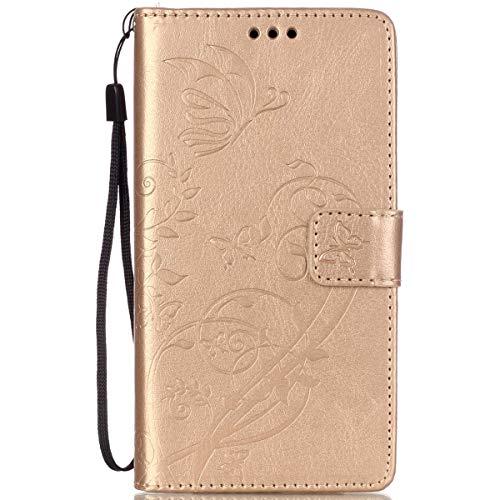 ISAKEN Custodia Compatibile con LG G4 Wallet Cover Borsa Fiori Design in Pelle PU Case Cover Protettiva Flip Portafoglio Case Cover con Supporto di Stand/Carte Slot/Chiusura - Flower: Gold