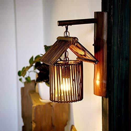 WHSS Lámpara de Pared de bambú/Luces/Ideas de decoración en el sudeste asiático Salón de Estilo Chino/Café/Granja Antigua/Hand-a Lámpara de Pared de bambú Apliques