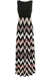 70580dd300f Sherosa Women Boho Chevron Striped Print Summer Sleeveless Tank Long Maxi  Party Dress