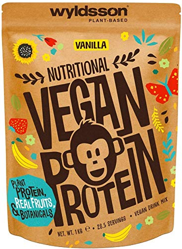 Vegan Protein Powder Super Blend (1kg) - All Natural Plant Based Protein with Fruits & Botanicals - High in Iron, Magnesium & Zinc - Gluten-Free-Dairy-Free (Vanilla, 1kg No Scoop)