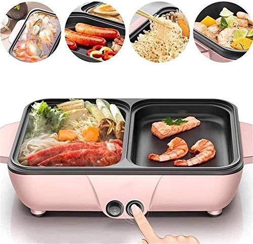 ZFFSC Grill Tragbarer elektrischer Grill, elektrischer Grill & heißer Topf, separat Dual-Temperaturregelung BBQ und rauchloser Shabu-Pot, für in Grill