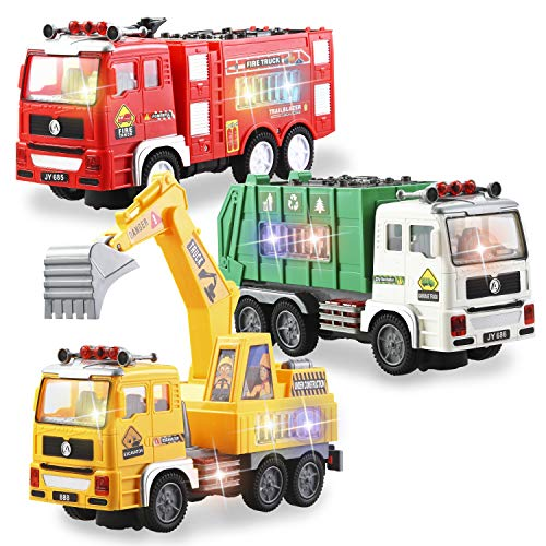 JOYIN 3-in-1 Toy Trucks Set Including Fire Truck, Garbage Truck and Excavator with 4D Stunning Lights and Sounds Automatic Bump & Go Toy Vehicles for Kids