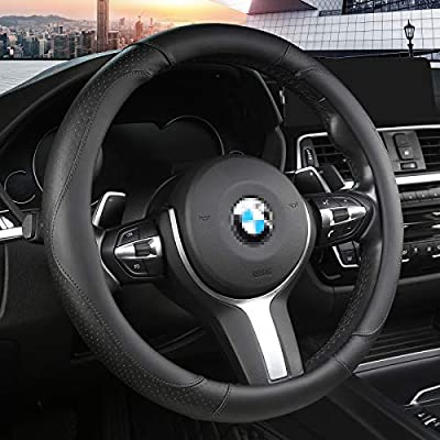 Steering Wheel Cover Microfiber Leather for Cars. Universal Fit 14.5 to 15 Inch Automotive Protector for Women and Men- Breathable, Anti Slip, Durable,Odorless (Black with Black Lines)