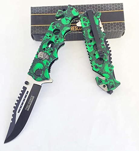 Green Skull Zombie sold out Slayer GRIP Bombing free shipping ASSISTED RESCUE PO HANDLE OPENING