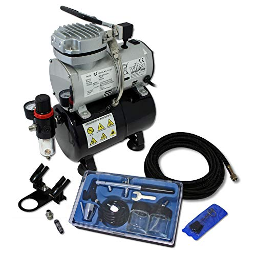 Wiltec Einsteiger Airbrush Kompressor Set AS189 mit 1 Airbrushpistole und umfangreichem Zubehör