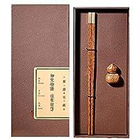 箸ギフトボックス、木製箸再利用可能なプレミアムギフト、ケース付き箸、韓国の日本の箸天然木箸、箸寿司、箸ホルダーレスト-A