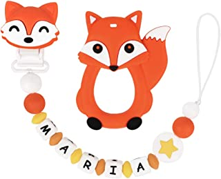 Pacifier Clip Personalized Name with Fox Teether, MCGMITT Customized Binky Holder Teething Silicone Beads for Baby Girls Boys (Orange)