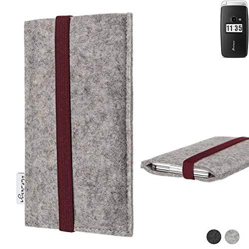 flat.design Handy Hülle Coimbra für Doro Primo 413 - Schutz Hülle Tasche Filz Made in Germany hellgrau Bordeaux