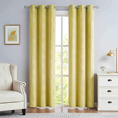 """Nottingson Home Velvet Luxury Curtains Yellow Mustard 84 Inches Long for Living Room/Bedroom Moroccan Pattern Drapes Embossed Room Darkening Window Treatments Slate Yellow 40"""" Wx84 L,Set of 2"""