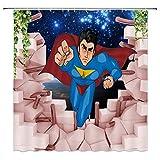 EdCott Superman Badezimmer Duschvorhang Cartoon Spaß Superman Duschvorhang Gardinen Dekoration Zubehör mit Haken Duschvorhang kann ohne Verblassen gewaschen Werden