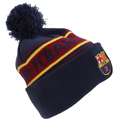 F.C. Barcelona Barcelona Text Cuff Knitted Hat,Navy,One Size