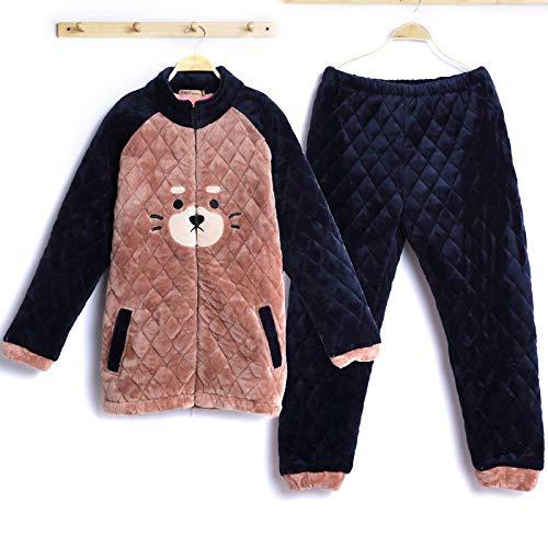 DFDLNL Conjuntos de Pijamas de Franela de Invierno para Mujeres/Hombres, Conjunto de Ropa de Dormir para Parejas, clidos Amantes de los Animales, Ropa de Dormir para Mujeres, Hombres, XL