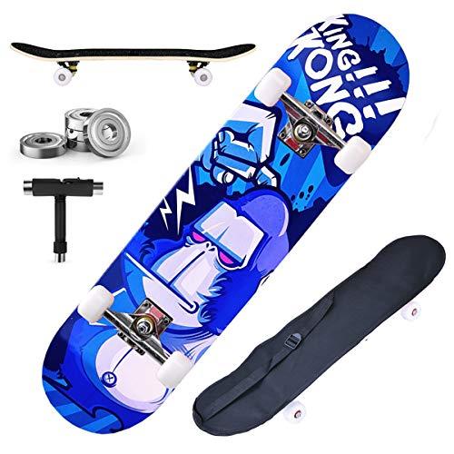 DnKelar Skateboard 79x20cm Holzboard für Anfänger mit ABEC-7 Kugellager 31 Zoll 7-lagigem Ahornholz und 90A Rollen für Kinder, Jugendliche und Erwachsene Komplettboard mit Tasche + T-Tool (Type5)
