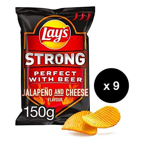 Lay's Strong Jalapeño and Cheese - 9 bolsas por set - 150g por bolsa - Chips crujientes - Máxima sensación de sabor a queso extra picante - Combinación perfecta para cualquier tipo de cerveza