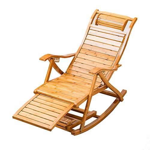 XEWNEGTZI - Sedia a dondolo regolabile in bambù, con poggiapiedi e ventilazione estiva, per giardino, balcone, piscina, sdraio, carico 200 kg (colore: sedia)