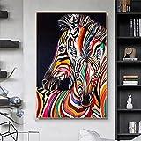 Pintura al óleo abstracta con estampado de cabeza de caballo arte de graffiti arcoíris carteles e impresiones de dos caballos pintura en lienzo moderna cuadro de arte de pared / 60x80cm sin marco