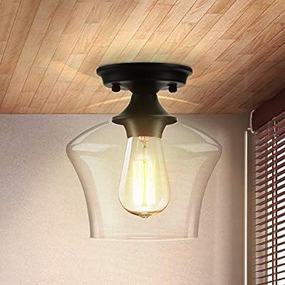 Semi Flush Mount Ceiling Light, Modern Light Fixture Industrial Flush Mount Ceiling Light with Clear Glass for Bedroom Hallway Dining Room Bathroom Passway (Black)