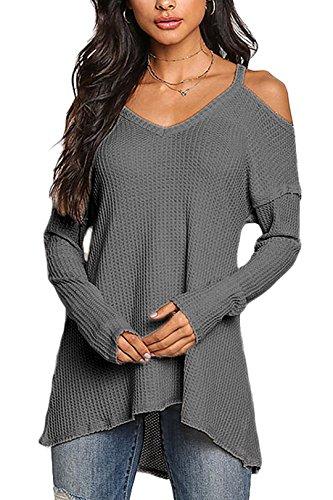 YOINS Camiseta Mujer de Manga Larga Camisa con Hombros Fríos Color Sólido Cuello en V Blusa Gris Oscuro S