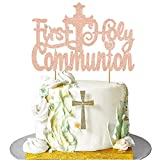 Vivicraft First Holy Communion Cake Topper for Girl Boys, Glitter Rose Gold First Communion Cake Topper Cross Christening, First Communion Baby Shower, Baptism party decorations ( 6.7''x4.49'')