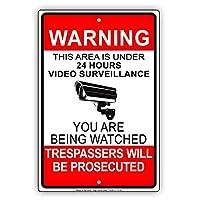 簡素な雑貨屋 Warning This Area Zone is Under 24 Hour Survellance You are Being Watched Police Security CCTV 注意看板メタル安全標識注意マー表示パネル金属板のブリキ看板情報サイントイレ公共場所駐車 20x30cm