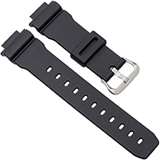 16mm Black Rubber Watch Band Fits Casio - DW-5300 DW-5900 DW-6000 DW-6100 DW-6200 DW-6600 DW-6695 DW-6900 DW-8700 G-6900 GW-6900