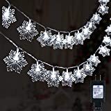 Christmas Snowflake String Lights, 29.5 Feet 60 Led Fairy Lights, Plug in Waterproof with 8 Lighting Modes for Xmas Home Garden Bedroom and Indoor&Outdoor Decoration, Pure White