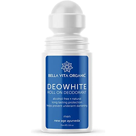 Bella Vita Organic Deo White Deodorant for Men 75 ml Natural Roll On Under Arm Skin Whitening & Lightening