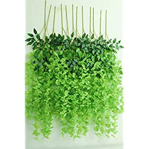 Oncola 12 Pack 3.6 Feet Artificial Flower Fake Wisteria Vine (Green)