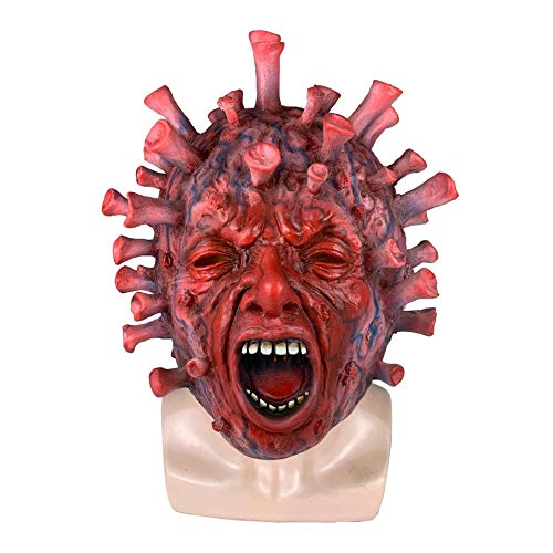 Horror Virus Costume Mask Scary Adult Helmet Hell Devil Headgear Natural Latex Cuttable Stereoscopic Cosplay Full Face Hood Halloween Costume Party Props,Red