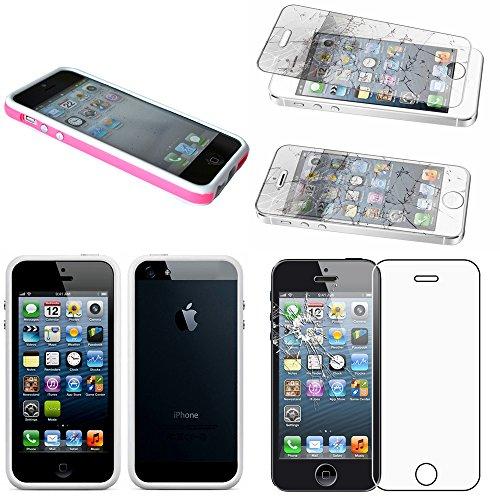 ebestStar - Bumper Compatible con iPhone SE 5S 5 Funda Protectora Bordes Lados Reforzados, Carcasa Anti choques, Rosa/Blanco +Cristal Templado Pantalla [Aparato: 123.8 x 58.6 x 7.6mm, 4.0'']