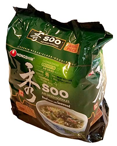 Nongshim Korean Famous Ramen Variety Selection (농심 라면) (Soo, Seaweed Ramen, 4 Pack)