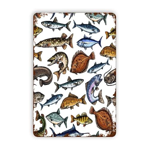 GOCHAN Letreros de metal,pescado de mar y agua dulce atún aguja azul...
