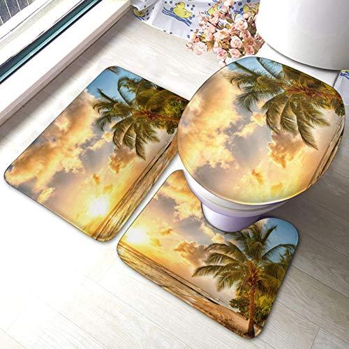 FENGBIN Sunset Haiian Palm Tree Fashion Bad Teppich Matten Set 3 Stück Anti-Rutsch Pads Badematte + Kontur + Toilettendeckel Abdeckung Teppich