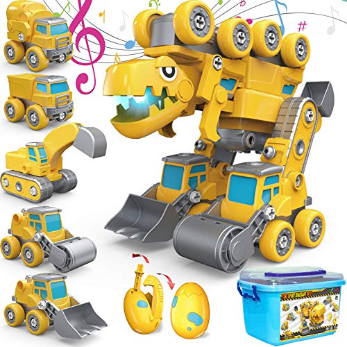 Take Apart Toys, 5-in-1 Construction Vehicles Transform into Giant...