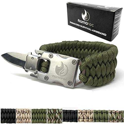 flamaroc® Blade - Premium Survival Armband extrabreit - Edelstahl Verschluss mit Messer - Paracord 550 Armband - Farbe Oliv grün, extrabreit