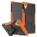 FaLiAng Schutzhülle Sony Xperia XA1 Ultra Hülle, Dual Layer Rüstung Kombination Stoßfest Heavy Duty Schild Harte Schale für Sony Xperia XA1 Ultra (Orange)