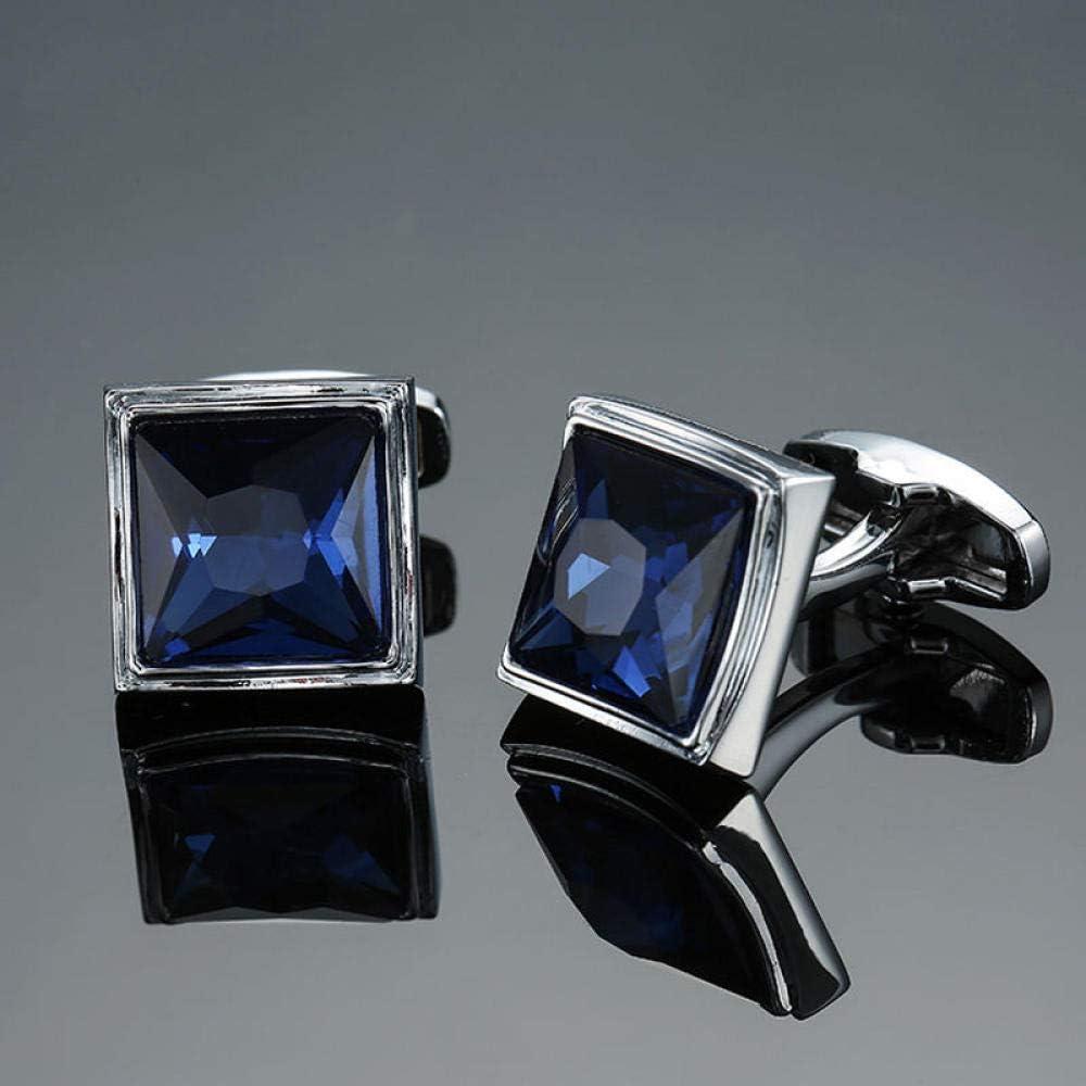 WOYAO Mens Cufflinks Accessories Cufflinks and Studs High-End Men S Jewelry Luxury Design Level Hourglass Blue Crystal Cufflinks Men S French Shirt Cufflinks-S