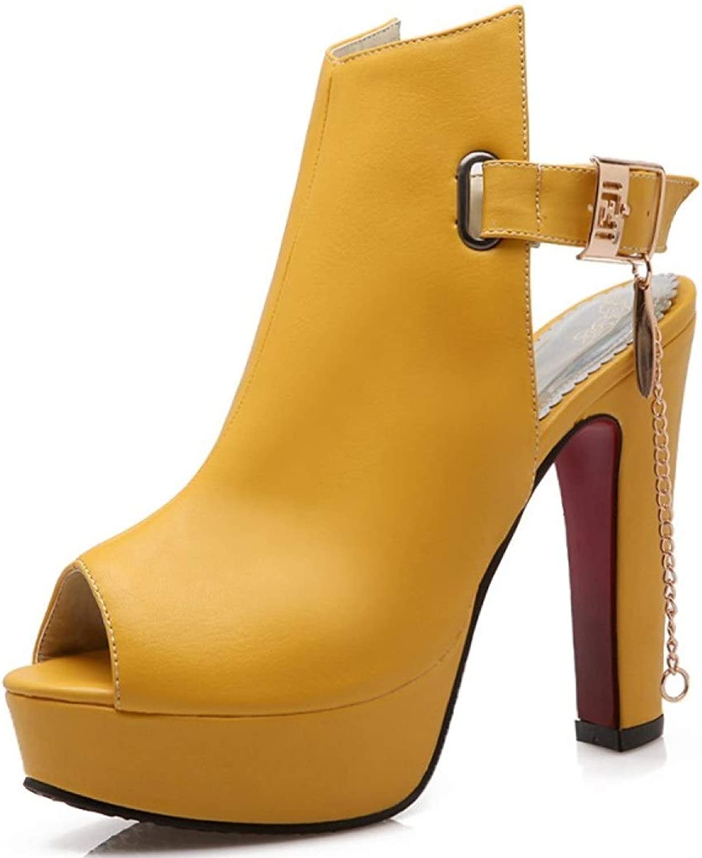 MEIZOKEN Women's Chunky Heel Platform Sandal High Heels Peep Toe Block Heels Slingback Ankle Strap Pump Party Sandal