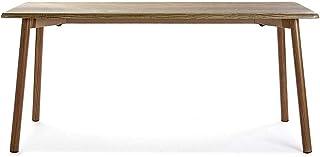 Versa 20881027 Banco De Cocina Lansing, Tubo de Metal Plateado y Madera MDF con Cobertura en Polvo de PVC, 45 x 35 x 100 cm