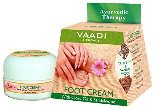 Foot Cream for Dry | Cracked | Itchy Feet. Repair and Heels Feet. Fast, Easy and Completely Painless. All Natural Herbal Formula. Completly Therapeutic Cream. Foot Cream with Clove and Sandalwood Oil. Speeds up Cell Renewal | Moisturizer | Repairs. Safe for Use By Diabetics. Relieves Itching and Helps Soften Dry Cracked Skin. Anti-fungal (Antifungal) and Exfoliating. Moisturizing and Softening Lotion. Best Cream for Athletes Feet. - 30 Grams - Vaadi Herbals